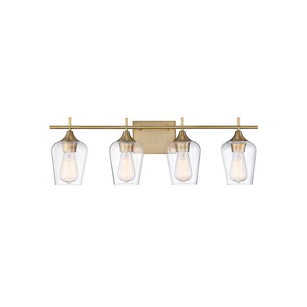 Octav Warm Brass 29-Inch Four-Light Bath Vanity, image 1