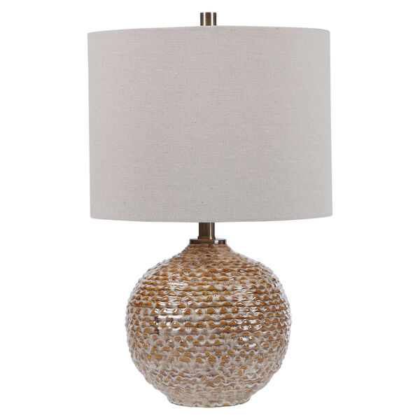 Lagos Brown and Light Brushed Brass One-Light Table Lamp with Round Drum Hardback Shade, image 7