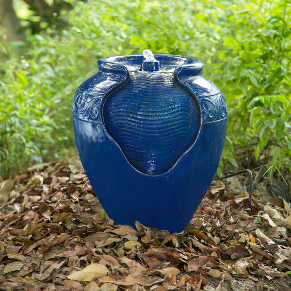 Royal Blue Outdoor Glazed Pot Floor Fountain, image 6