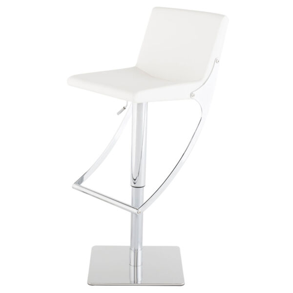 Swing White and Silver Adjustable Stool, image 1