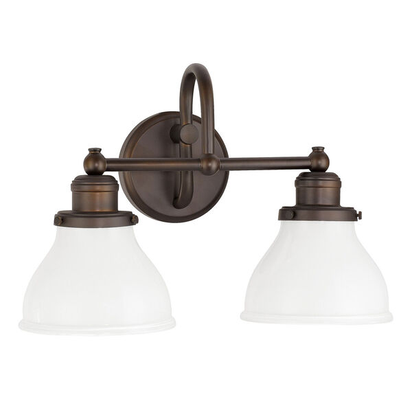 Grace Burnished Bronze Two-Light Bath Vanity with Milk Glass Shade, image 1