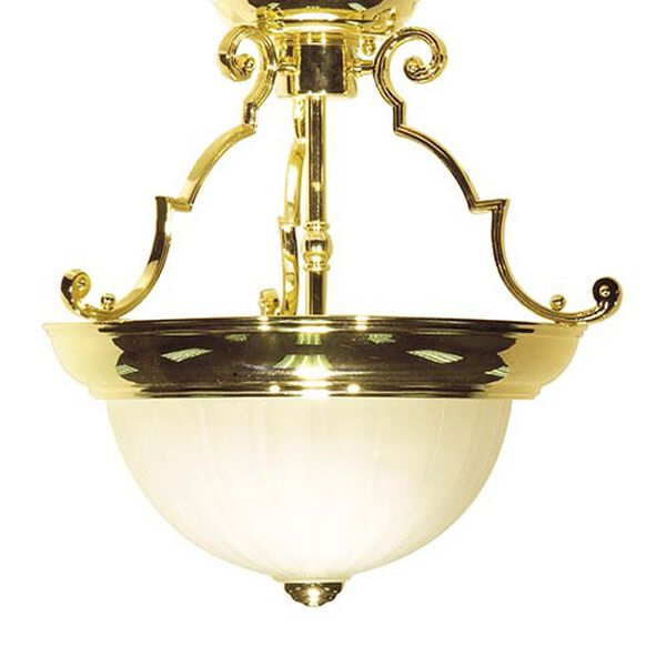 Polished Brass Two-Light 13-Inch Wide Semi-Flush with Frosted Melon Glass, image 1