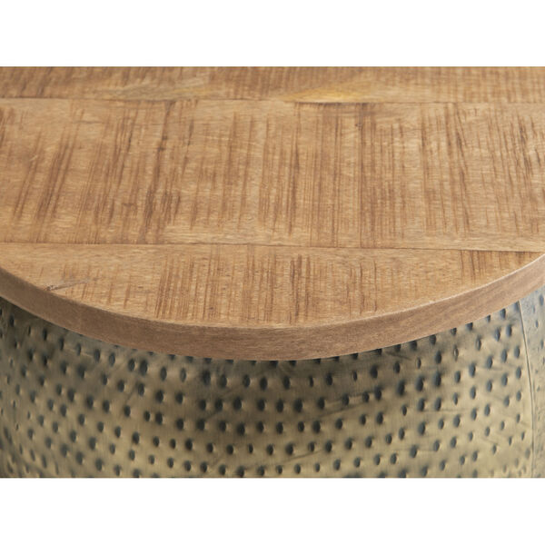 Leah Gold Drum with Storage Table, image 4