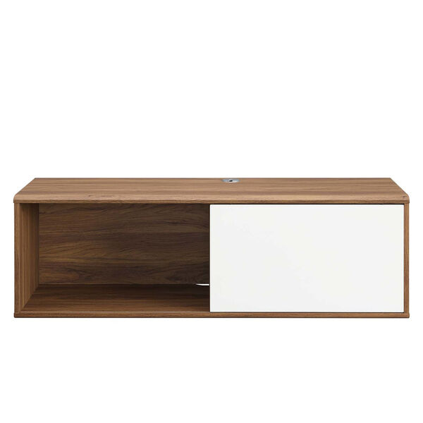 Uptown Walnut and White 46-Inch Wall Mount TV Stand, image 4
