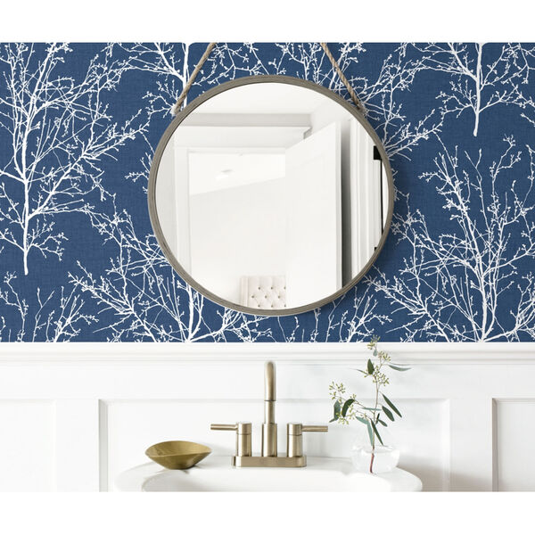 NextWall Blue Tree Branches Peel and Stick Wallpaper, image 3