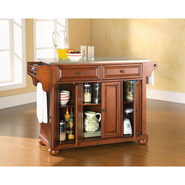 Alexandria Stainless Steel Top Kitchen Island in Classic Cherry Finish, image 4
