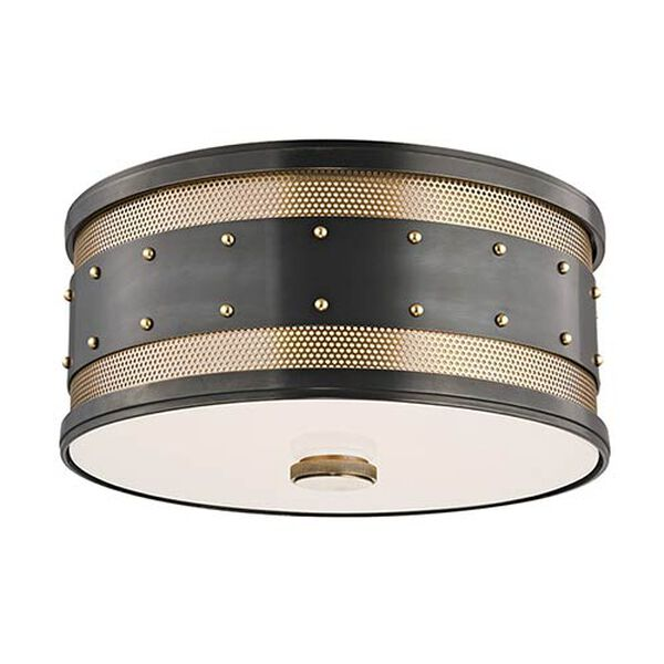 Gaines Aged Old Bronze Two-Light Flush Mount, image 1