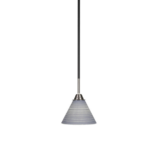 Paramount Matte Black and Brushed Nickel Seven-Inch One-Light Mini Pendant with Gray Matrix Glass Shade, image 1