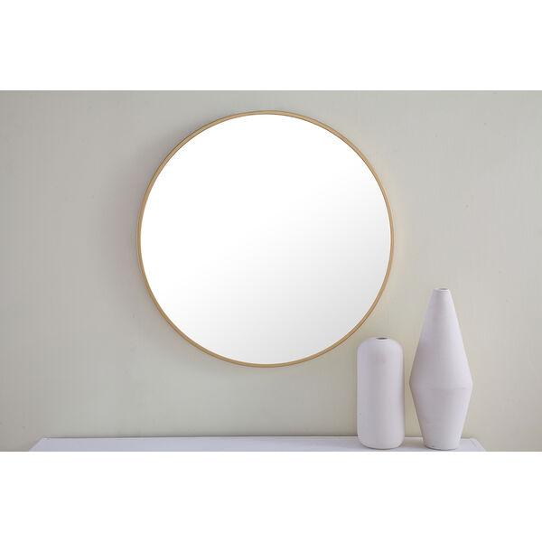 Eternity Brushed Brass Round 24-Inch Mirror, image 1