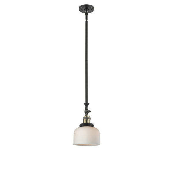 Large Bell Black Antique Brass 14-Inch LED Mini Pendant with Matte White Cased Dome Glass, image 1
