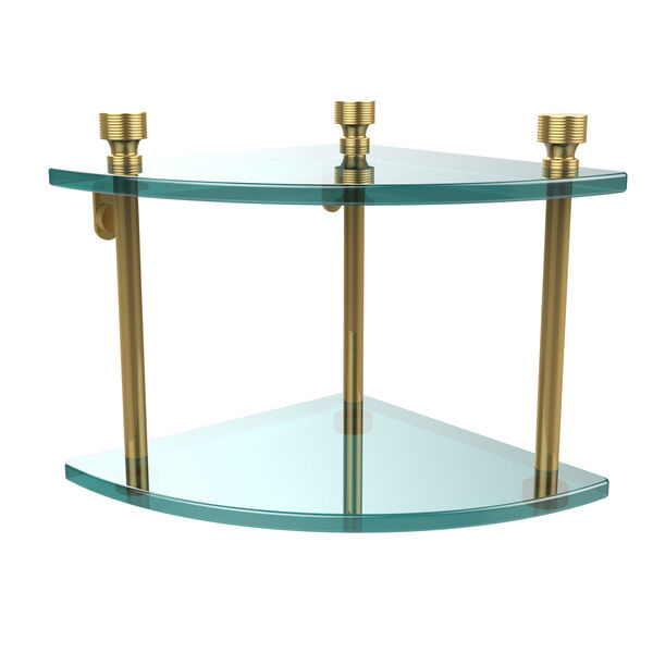 Foxtrot Collection Two Tier Corner Glass Shelf, Unlacquered Brass, image 1
