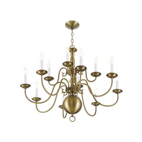 Williamsburgh Antique Brass 12 Light Chandelier, image 3