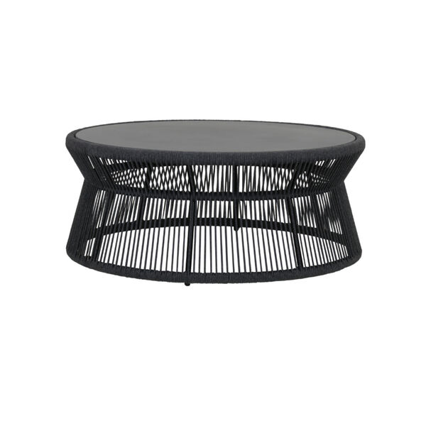 Milano Charcoal Rope Coffee Table with Honed Absolute Granite Insert, image 1