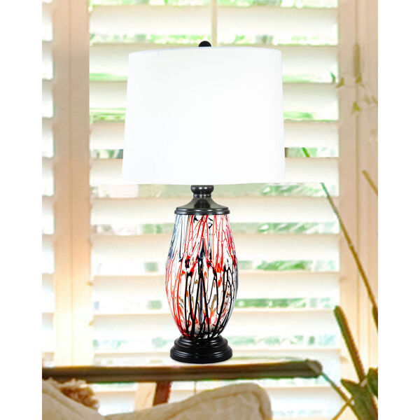 Halen Ebony Black and White One-Light Painted Crystal Table Lamp, image 2