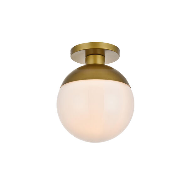 Eclipse Brass and Frosted White 12-Inch One-Light Semi-Flush Mount, image 3
