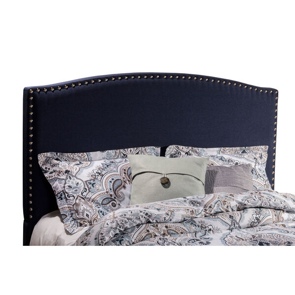 Kerstein Navy Linen King Headboard With Frame, image 2
