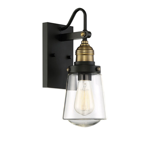 Afton Vintage Black with Warm Brass One-Light Outdoor Wall Sconce, image 3
