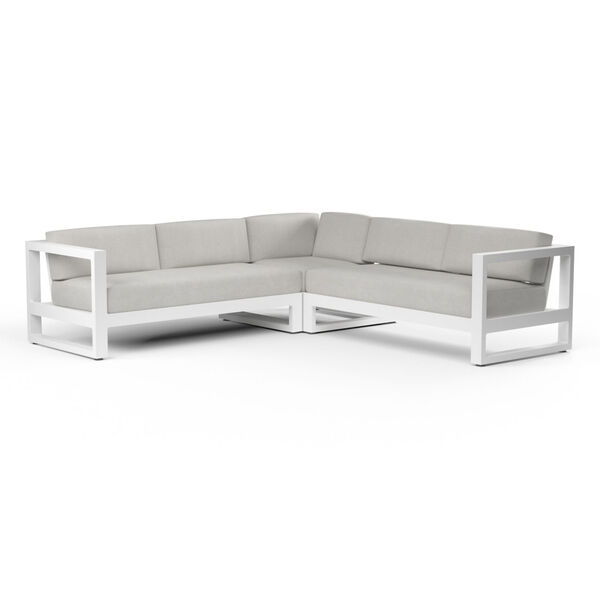 Newport Frost Powdercoat Sectional Sofa with Cast Silver Cushion, image 3