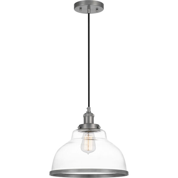 Leo Antique Nickel 12-Inch One-Light Pendant with Clear Glass, image 1