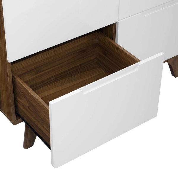 Uptown Walnut White Wood Wardrobe Cabinet, image 4