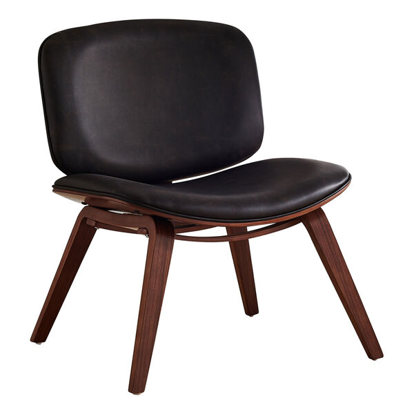 Black and Dark Brown Armless Chair, image 1