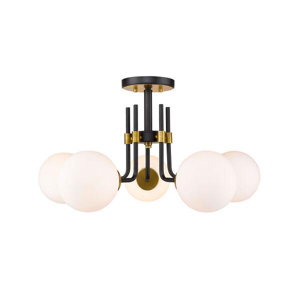 Parsons Matte Black and Olde Brass Five-Light Semi Flush Mount, image 4