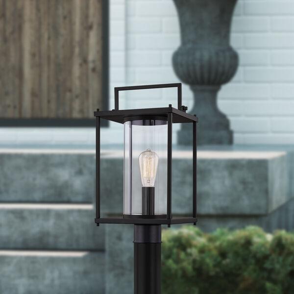 Garrett Matte Black One-Light Outdoor Post Lantern with Transparent Glass, image 7