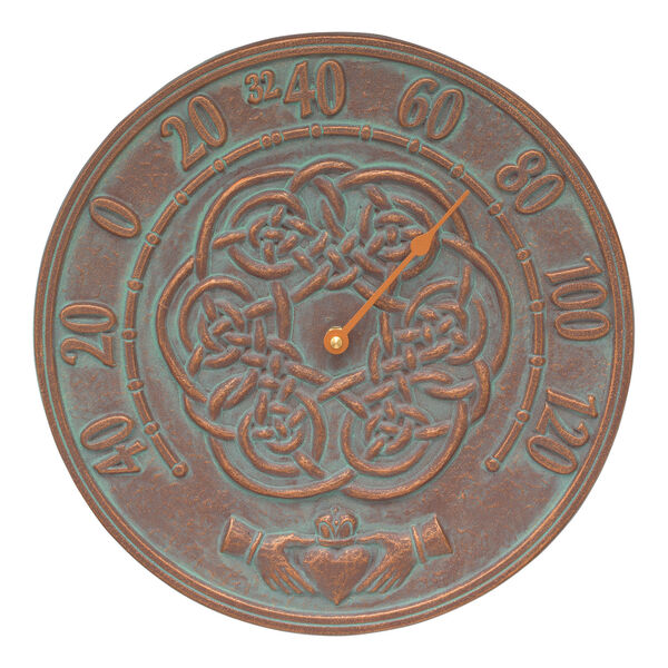 Celtic Knot Copper Verdigris Outdoor Thermometer, image 1