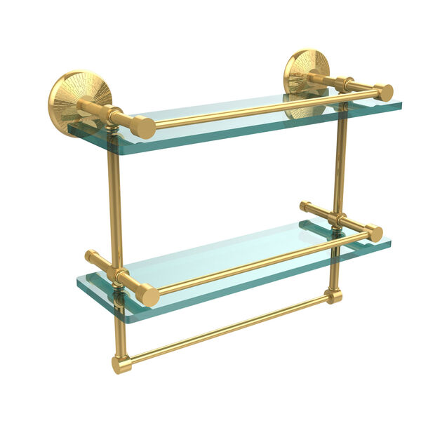 Monte Carlo Collection 16 Inch Gallery Double Glass Shelf with Towel Bar, Polished Brass, image 1