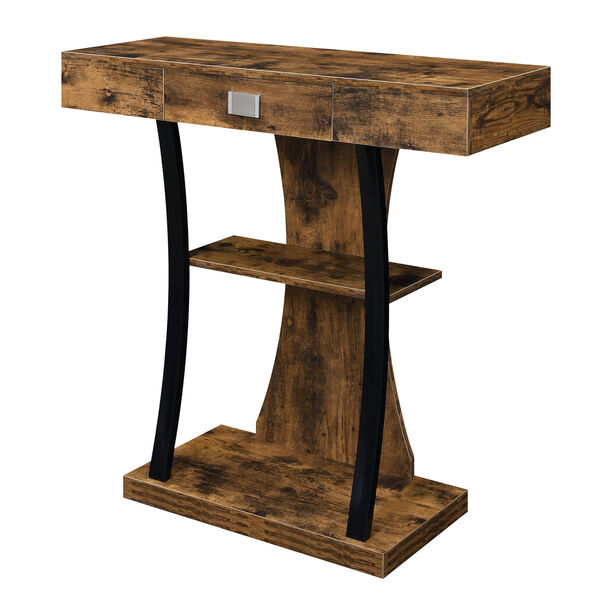 Newport Harri Barnwood and Black One Drawer Console Table with Shelves, image 3
