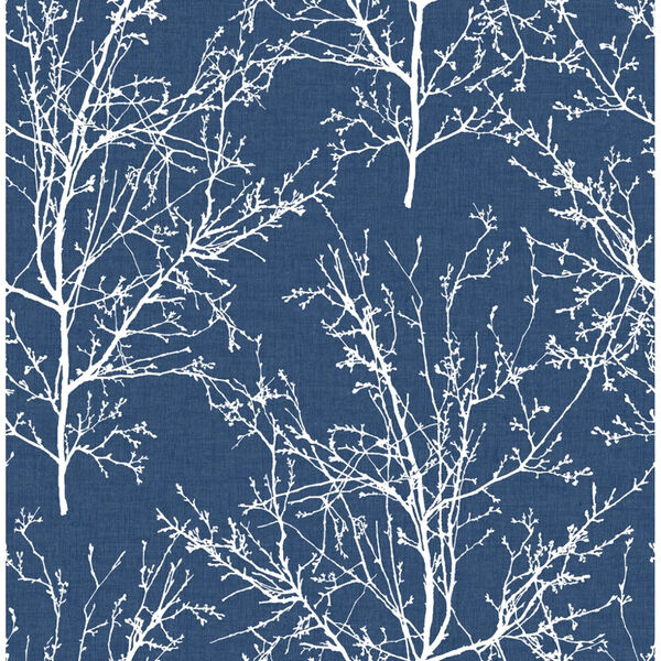 NextWall Blue Tree Branches Peel and Stick Wallpaper, image 2