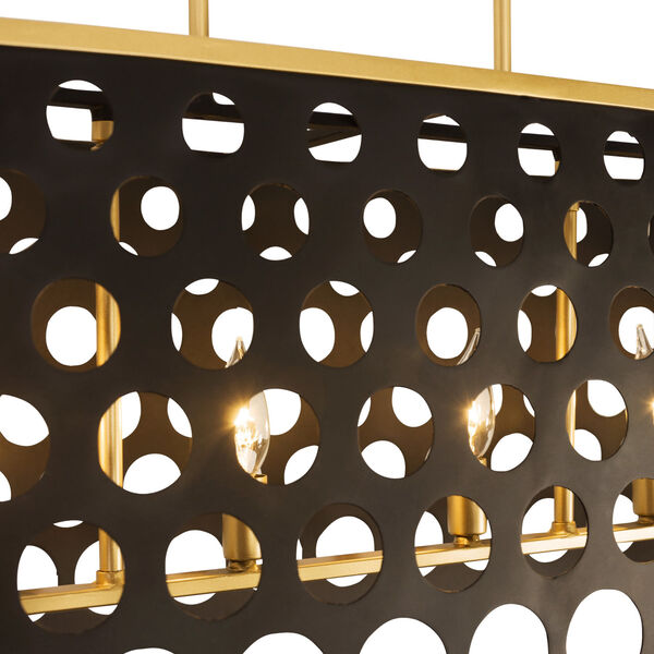 Bailey Matte Black French Gold 44-Inch Six-Light Pendant, image 3