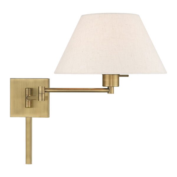 Swing Arm Wall Lamps Antique Brass 13-Inch One-Light Swing Arm Wall Lamp with Hand Crafted Oatmeal Hardback Shade, image 5