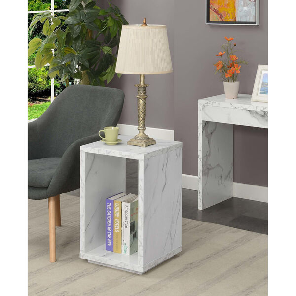 Northfield Admiral White Faux Marble End Table with Shelf, image 2