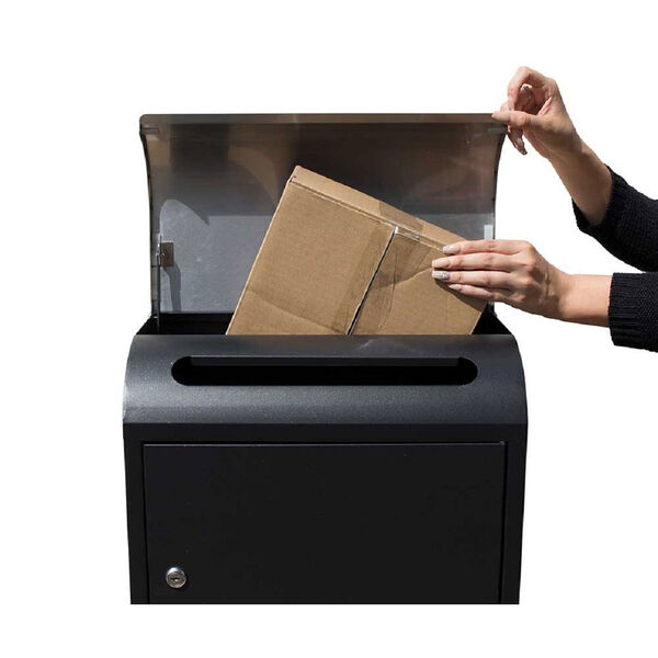 Selma Locking Mail and Parcel Box Black with Stainless Steel, image 2