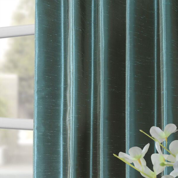 Peacock Vintage Textured Faux Dupioni Silk Single Panel Curtain, 50 X 108, image 8