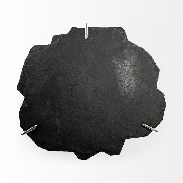 Shale II Black Irregular Live-Edge Slate Coffee Table with Flat Iron Base, image 5