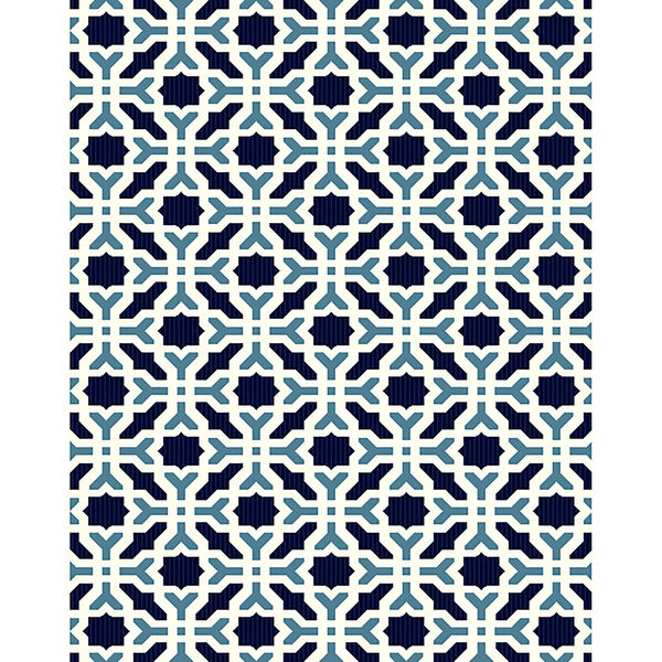 Puerto White and Blue Pattern Indoor/Outdoor Rug, image 1