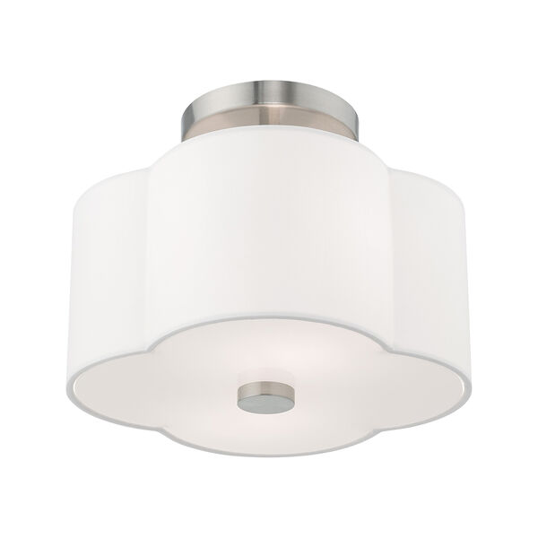 Chelsea Brushed Nickel 11-Inch Two-Light Ceiling Mount with Hand Crafted Off-White Hardback Shade, image 4