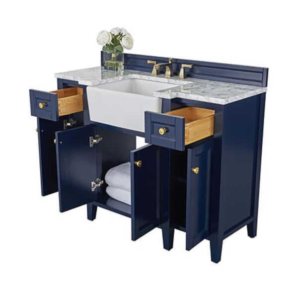 Adeline Heritage Blue 48-Inch Vanity Console with Farmhouse Sink, image 6