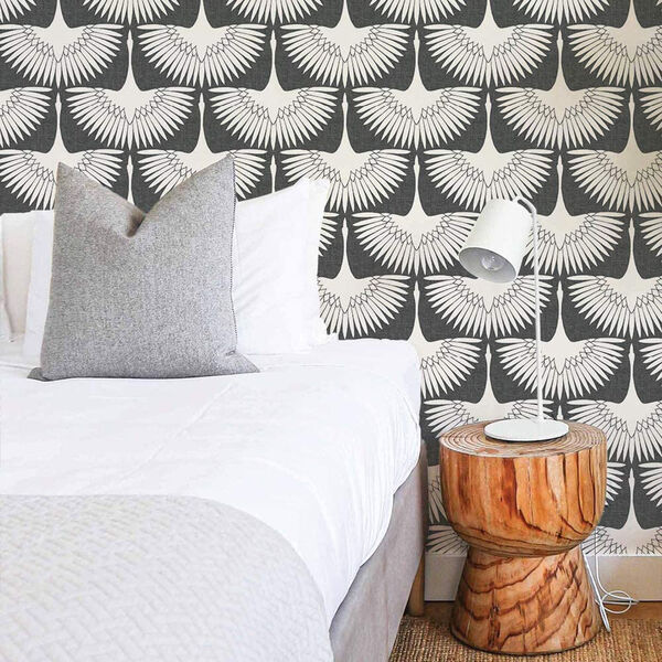 Feather Flock Storm Grey 28 Sq. Ft. Peel and Stick Wallpaper, image 1
