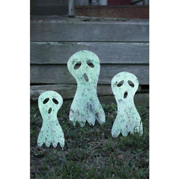 Glow In The Dark Metal Ghost Yard Art, Set of Three, image 1