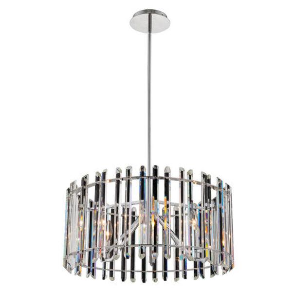 Viano Polished Chrome Six-Light Pendant with Firenze Crystal, image 1