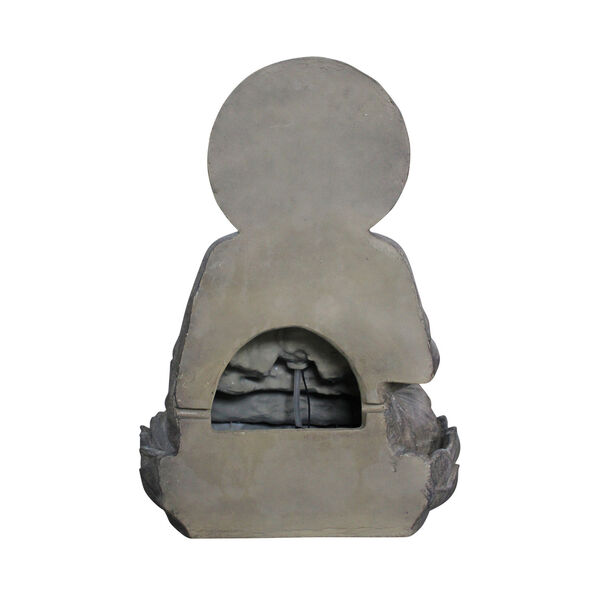 Stone Grey Outdoor Buddha Zen Fountain with LED Light, image 4
