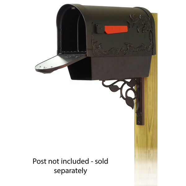 Curbside Black Hummingbird Mailbox with Newspaper Tube and Floral Front Single Mounting Bracket, image 2
