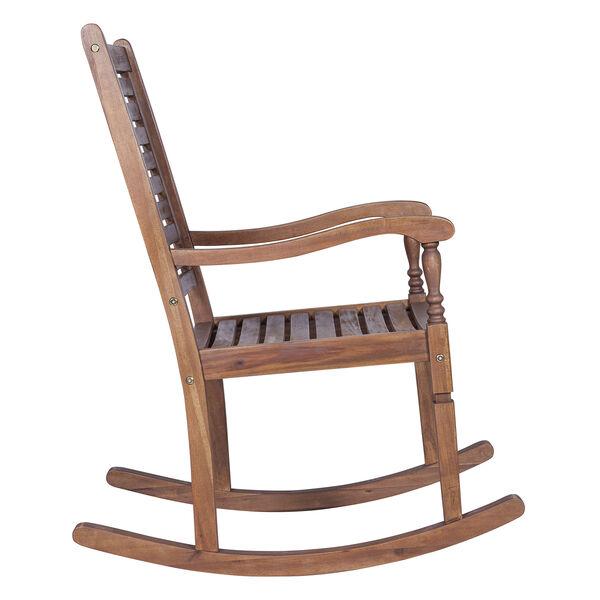 Solid Acacia Wood Rocking Patio Chair, Dark Brown, image 4