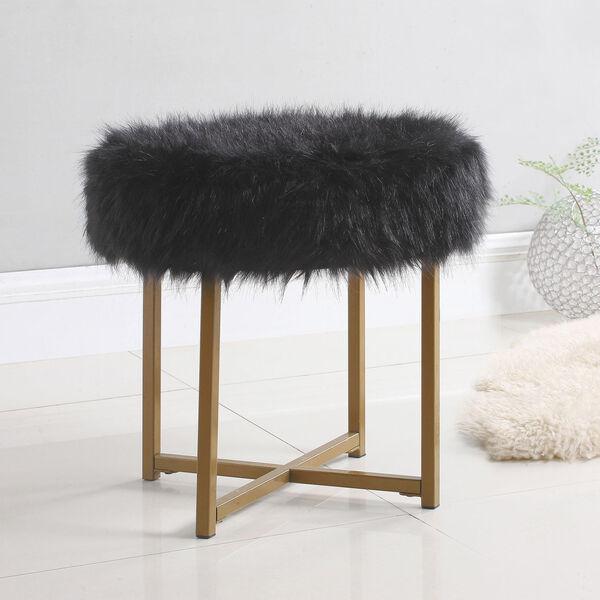 Faux Fur Round Ottoman - Black, image 2