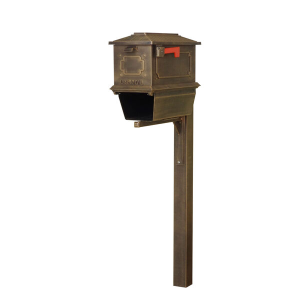 Kingston Curbside Copper Mailbox with Newspaper Tube and Springfeild Mailbox Post, image 1