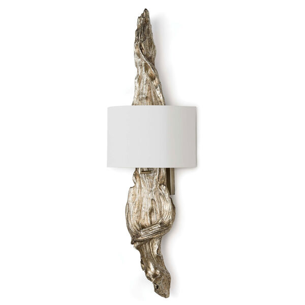 Modern Glamour Ambered Silver Leaf Two-Light Wall Sconce, image 1