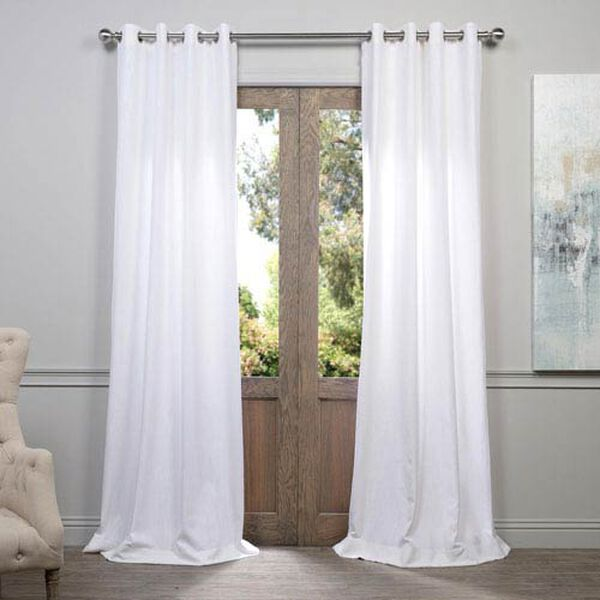 White 96 x 50-Inch Grommet Curtain Single Panel, image 1